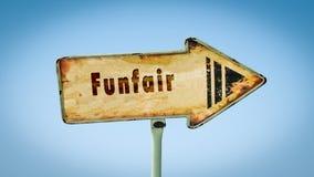 Straatteken aan Funfair royalty-vrije stock afbeelding
