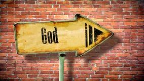 Straatteken aan God royalty-vrije stock afbeeldingen