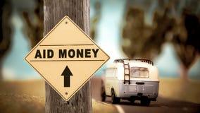 Straatteken aan Hulpgeld stock afbeelding