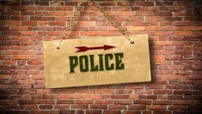 Straatteken aan Politie royalty-vrije stock foto's