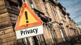 Straatteken aan Privacy stock afbeelding