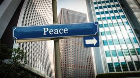 Straatteken aan Vrede royalty-vrije stock foto's