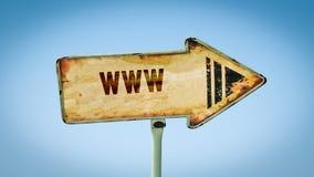 Straatteken aan WWW stock afbeeldingen