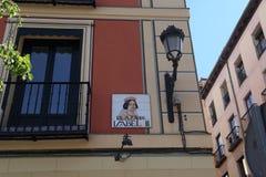 Straatteken in Madrid Royalty-vrije Stock Fotografie