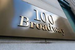 Straatteken op Broadway Stock Foto's