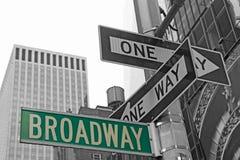 Straattekens voor Broadway in NYC. royalty-vrije stock afbeeldingen
