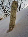 Straatthermometer met temperatuur Celsius en Fahrenheit in de sneeuw royalty-vrije stock fotografie