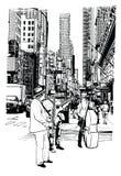 Straatuitvoerders die muziek spelen bij 5de Weg in de Stad van New York royalty-vrije illustratie