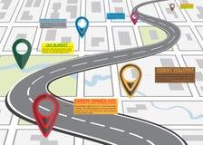Straatwegenkaart, bedrijfsinfographics met kleurrijke speldwijzer Stock Afbeeldingen
