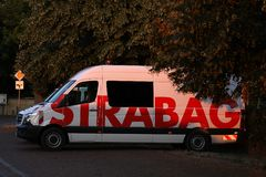 Strabag truck in car park. Strabag brand written on a microbus. STRABAG SE is an Austrian construction company based in Villach, Austria, with its headquarters royalty free stock images