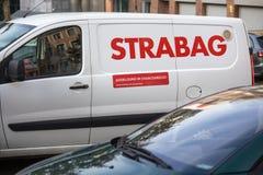 Strabag samochód podpisuje wewnątrz cologne Germany zdjęcie royalty free