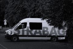 Strabag truck in car park. Strabag brand written on a microbus. STRABAG SE is an Austrian construction company based in Villach, Austria, with its headquarters royalty free stock photos