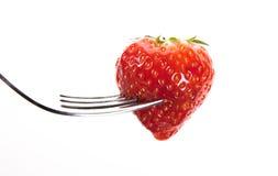 Straberry op een vork Stock Foto