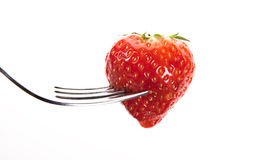 Straberry sur une fourchette Photo stock