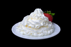 The straberry in whiped cream Royalty Free Stock Photo