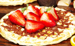 Straberrys on wafer  chocolate Stock Images