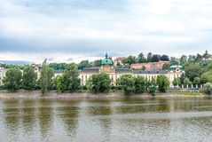 Straca Academy from Moldava riverside, Prague, Czech Republic Royalty Free Stock Images