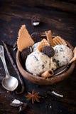 Stracciatella ice cream in bowl Royalty Free Stock Images