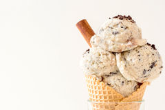 Stracciatella ice cream. S in cone,selective focus Stock Image