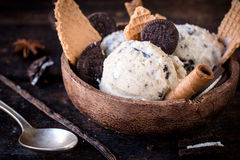 Stracciatella ice cream time Royalty Free Stock Images