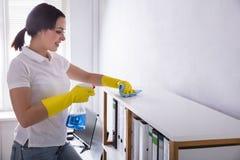 Straccio di Cleaning Shelf With del portiere Immagini Stock Libere da Diritti
