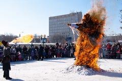 Strach na wróble pali na zima Slawistycznym wakacyjnym ostatki zdjęcie royalty free