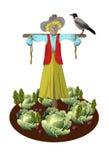 strach na wróble w ogródzie z warzywami i wronami Obrazy Stock