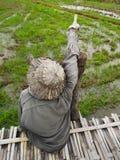 Strach na wróble z słomianego kapeluszu miejsca siedzące na bambusa moscie przed śródpolnym i wskazuje palcem przy niebem zdjęcia royalty free