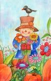 Strach na wróble Z kwiatami Zdjęcie Stock