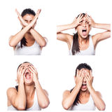 Strach, szok, stres dziewczyna złożona Zdjęcia Stock