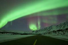 Strada ad Aurora Borealis Fotografia Stock Libera da Diritti