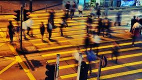Strada affollata alla notte - Hong Kong Fotografia Stock
