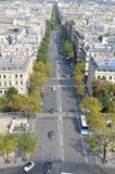 Strada affollata a Parigi Fotografie Stock