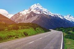 Strada al cuoco di Mt, Nuova Zelanda Fotografia Stock