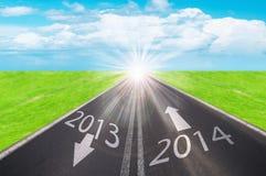 Strada al nuovo anno 2014 Fotografie Stock Libere da Diritti