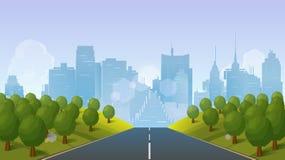 Strada al paesaggio della città, illustrazione di vettore Fotografia Stock Libera da Diritti