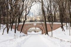 Strada alla città di Mosca del distretto di finanza e di affari dal parco Immagine Stock Libera da Diritti