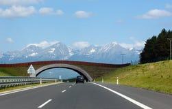 Strada alla vista della sorgente della montagna. Fotografia Stock
