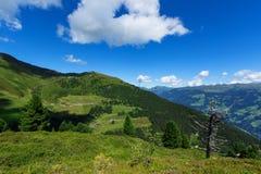 Strada alpina di Zillertal delle alpi di vista alta, Austria, Tirolo, Zillertal Immagini Stock
