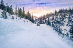 Strada alpina pianificata in neve, Austria Immagine Stock Libera da Diritti