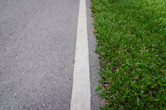 Strada asfaltata con la linea di striscia e l'erba verde Immagini Stock