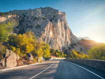 Strada asfaltata di estate ad alba Fotografia Stock