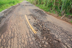 Strada asfaltata incrinata Fotografia Stock