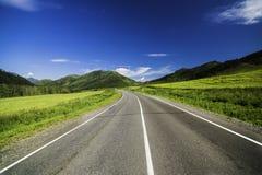 Strada asfaltata nelle montagne di Altai Fotografie Stock Libere da Diritti
