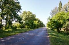 Strada attraverso il campo nel giorno soleggiato Fotografie Stock Libere da Diritti