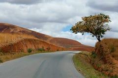 Strada attraverso il paesaggio della campagna dell'altopiano del Madagascar Fotografia Stock Libera da Diritti