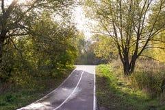 Strada attraverso il parco di autunno stagionale, fondo immagini stock