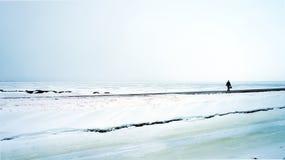 Strada attraverso la baia congelata Fotografia Stock Libera da Diritti