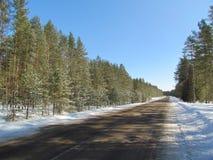 Strada attraverso la neve Fotografia Stock Libera da Diritti