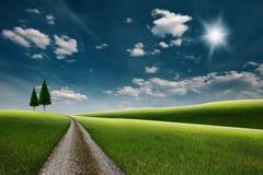 Strada attraverso le colline verdi Immagine Stock